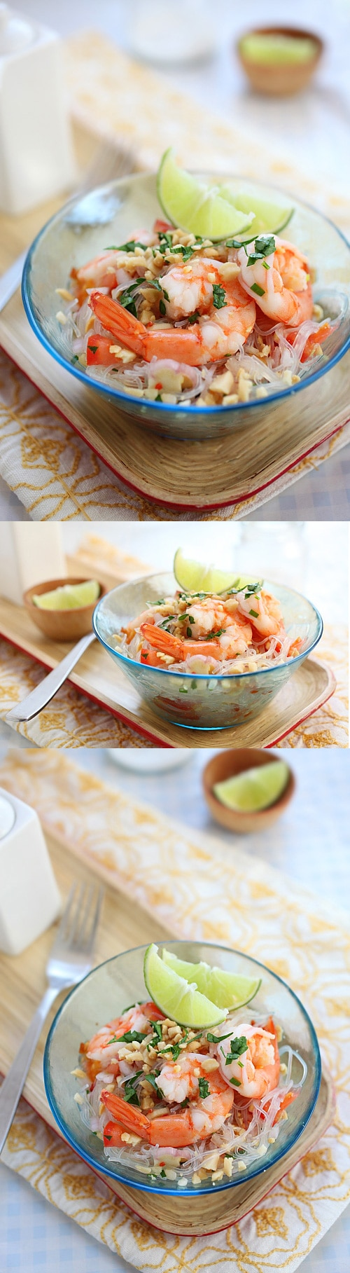 Thai Noodle Salad Yum Woon Sen - easy recipe of healthy Thai noodle salad with shrimp in a delicious lime and sweet chili dressing | rasamalaysia.com