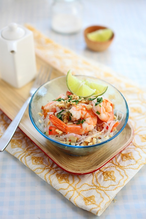 Easy and delicious Thai noodle salad served in a bowl.