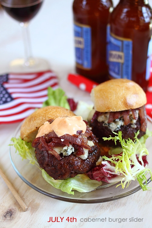 Easy and delicious homemade Cabernet and Gorgonzola burger sliders recipe.