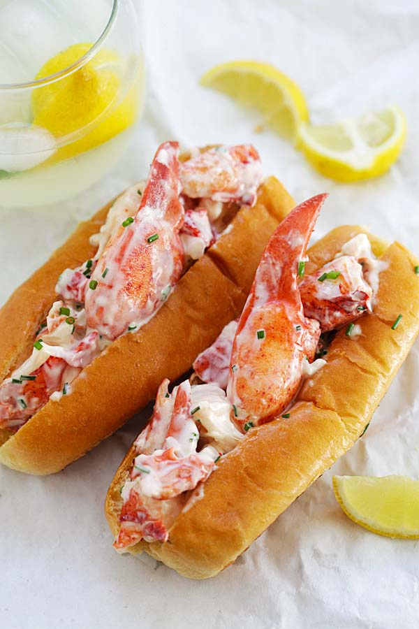 Lobster roll filled with juicy and succulent lobsters, ready to serve.