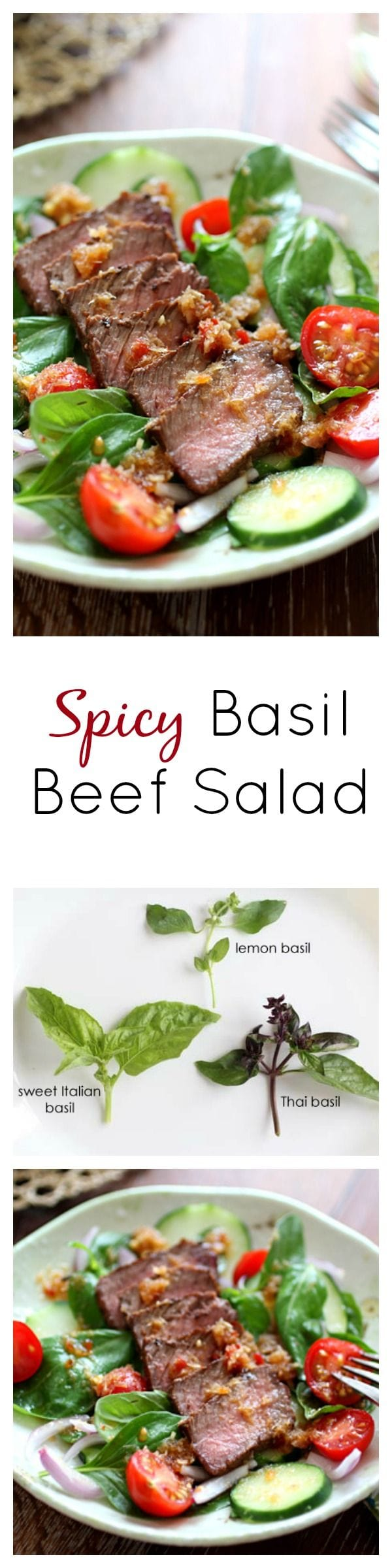 Spicy basil beef salad. Perfectly seared beef with basil leaves, tomatoes and a spicy Thai dressing, so healthy and yummy | rasamalaysia.com