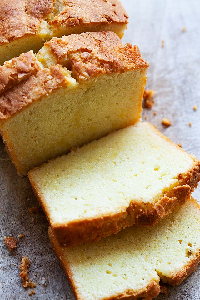 Traditional pound cake recipe using butter, all purpose flour, sugar and eggs.