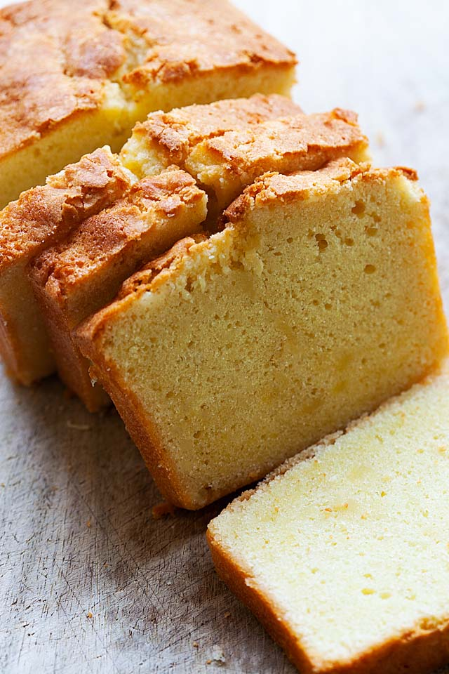 Old fashioned pound cake baked in a loaf pan.