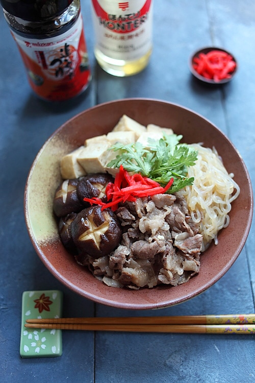 Easy and quick Japanese sukiyaki donburi rice bowl recipe.