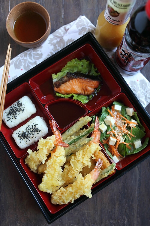 Ebi Tempura with crispy batter in Japanese bento serving dish.