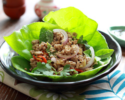 ... Lettuce Wraps & Anolon Cook & Tell Pork Larb Lettuce Wrap Thai Ch...