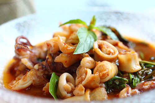 Thai chili basil squid ready to serve.