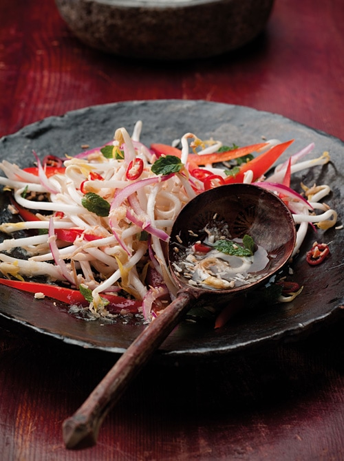 Easy and quick Asian coconut and chili kerabu salad served in a plate.