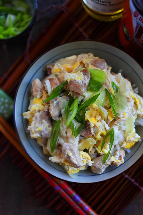 One-pot delicious and easy Japanese rice bowl with eggs and chicken.
