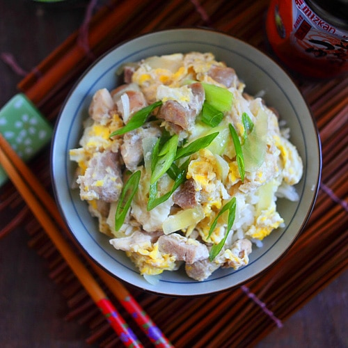 One-pot Japanese chicken and eggs rice - healthy, delicious, super easy and takes only 15 minutes from prep to dining table | rasamalaysia.com