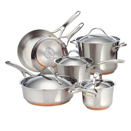 Anolon 10-piece Nouvelle Copper Stainless Steel Cookware Set.