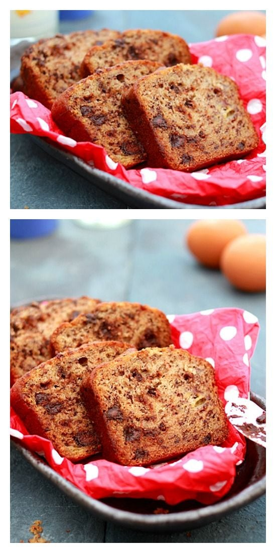 Easy banana chocolate bread recipe that calls for simple ingredients: banana & chocolate. This recipe yields delicious moist banana chocolate bread. | rasamalaysia.com