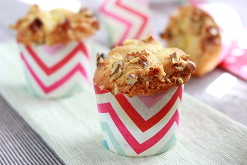 Easy homemade banana cream cheese muffins, ready to serve.