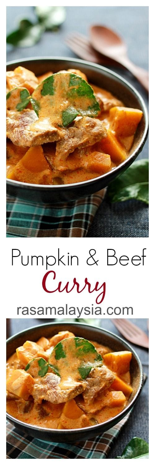 Pumpkin and Beef Curry – This Thai-style beef curry is amazingly delicious, with chunks of pumpkin in a mildly spicy and rich curry. SO YUMMY | rasamalaysia.com