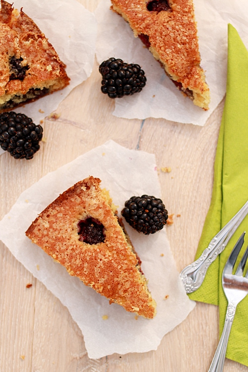 Top down view of easy homemade buttermilk cake with blackberries.