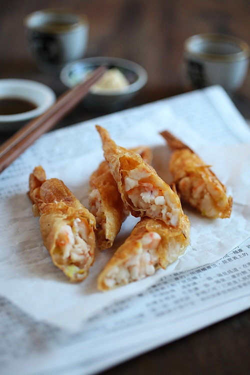 Crispy, delicious Chinese deep fried shrimp rolls wrapped with tofu skin.