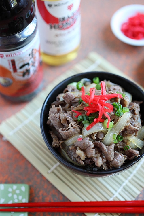 Japanese Beef Bowl Gyudon simmered beef with onion, soy sauce and rice in bowl.