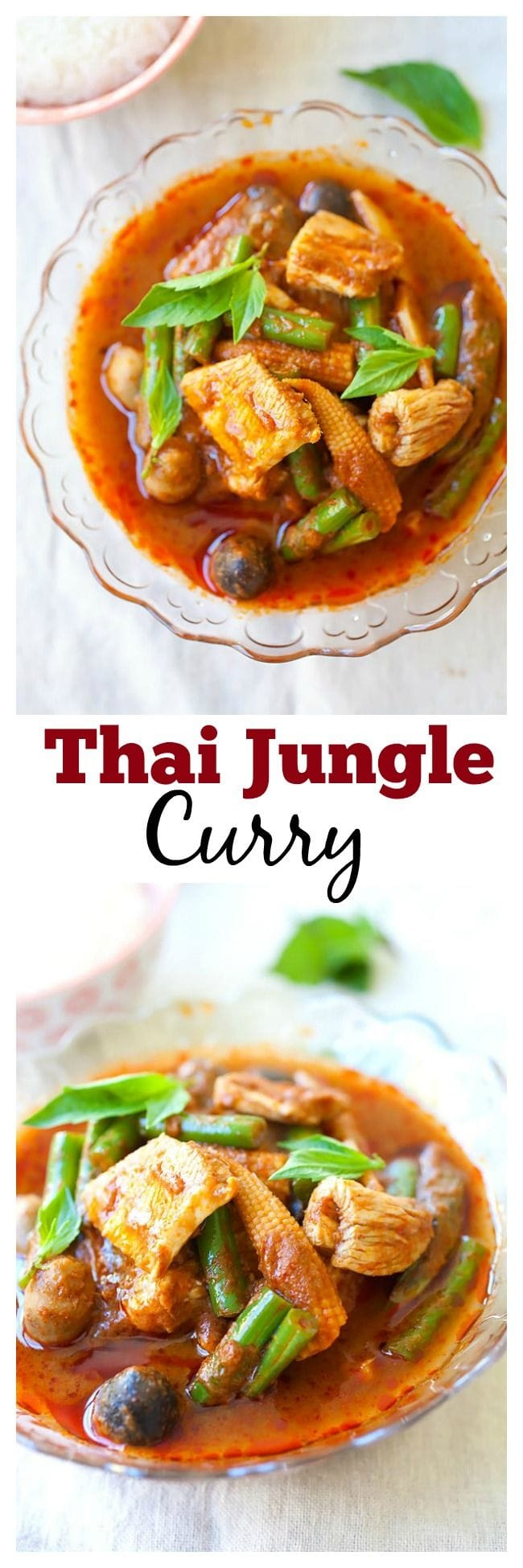 Jungle curry is a popular Thai curry. Jungle curry is spicy, with no coconut milk. You can make pork or chicken jungle curry with this easy recipe. | rasamalaysia.com
