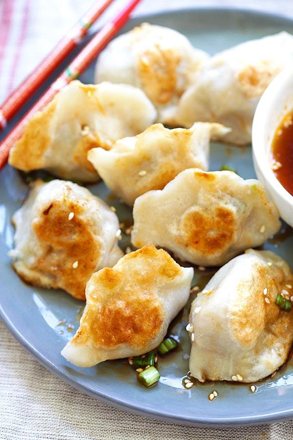 Easy Asian Pan-fried Dumplings in a plate.