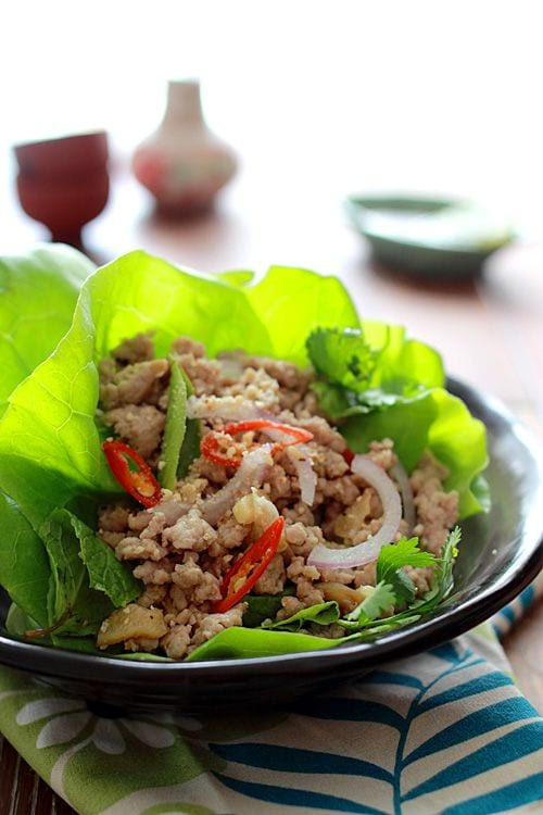 Larb is a tasty ground meat salad in Loas and Thailand. Use larb as a filling for refreshing lettuce wraps as in this pork larb recipe. | rasamalaysia.com