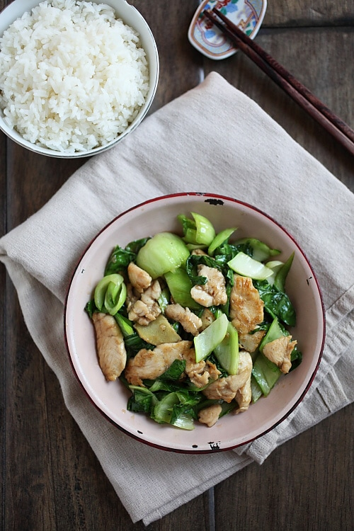 Bok Choy Chicken – easy vegetable stir-fry recipe with bok choy, chicken, garlic and a simple sauce. So EASY, healthy and takes only 15 minutes   rasamalaysia.com