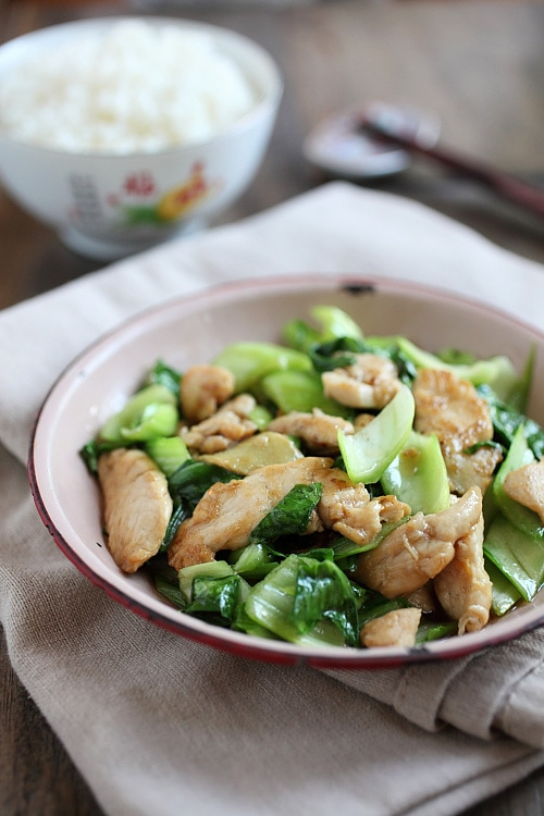 Chinese bok choy chicken stir fry with Chinese brown sauce.
