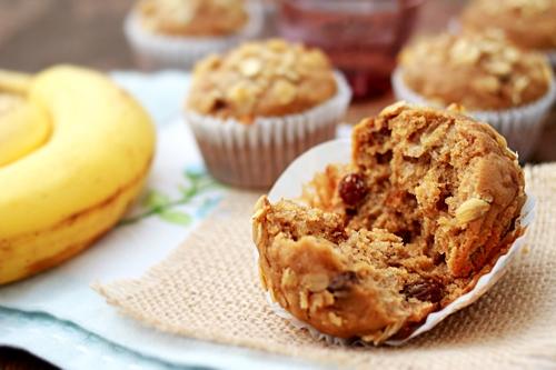Easy homemade banana oatmeal raisin muffins recipe.