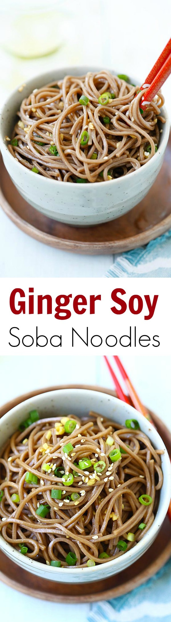 Ginger Soy Soba - the easiest and healthiest noodles made with ginger, soy sauce, honey and Japanese soba noodles. 15 minutes to make! | rasamalaysia.com