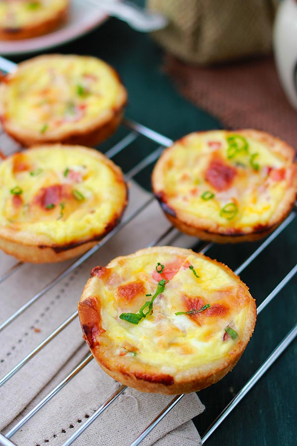 Mini Quiche – the BEST & easiest quiche you'll ever make, in mini size. So creamy, rich, delicious with this fool-proof mini quiche recipe!!! | rasamalaysia.com