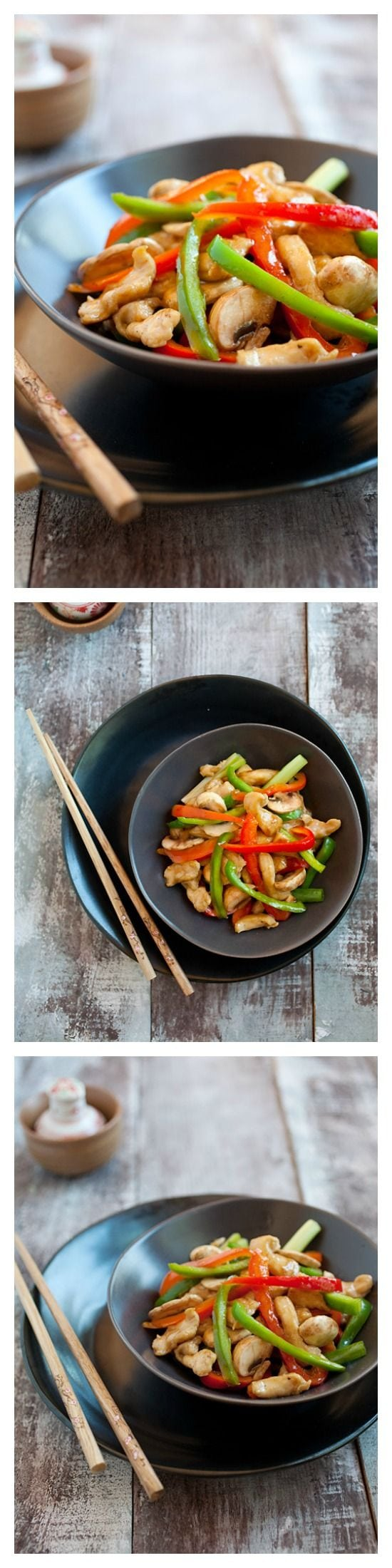 Bell Peppers Chicken Recipe. Quick, easy, and healthy chicken stir-fry with red and green bell peppers and a Chinese brown sauce. SUPER YUM!   rasamalaysia.com
