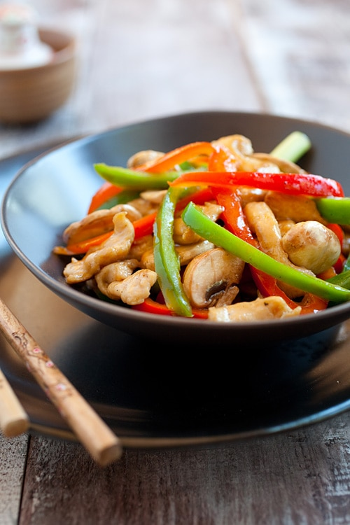 Easy bell peppers and chicken stir fry recipe.