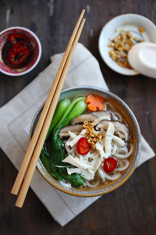 Chinese Chicken Noodle Soup - easy noodle soup with chicken broth, noodles and bok choy. This recipe is so easy and comforting, perfect as a quick and hearty lunch | rasamalaysia.com