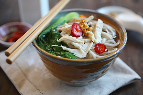 Chinese chicken noodle soup made with chicken broth and fresh wheat noodles.