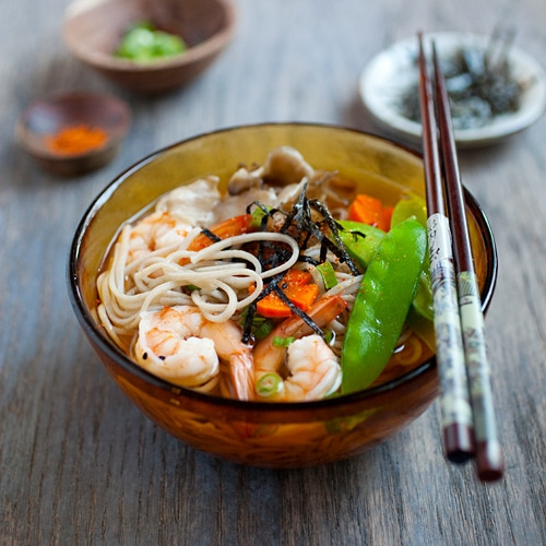 spinach and smoked trout soba noodle soup soba noodle bowl soba noodle ...