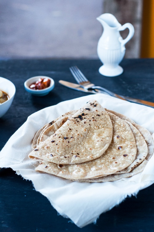 Chapati Indian flat bread served on a plate.