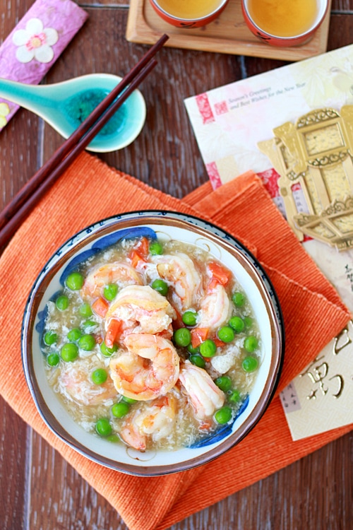 Easy shrimp with lobster sauce Chinese takeout style served in a bowl.