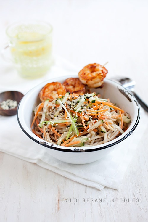 Easy and quick cold sesame noodles with shrimp served in a bowl.