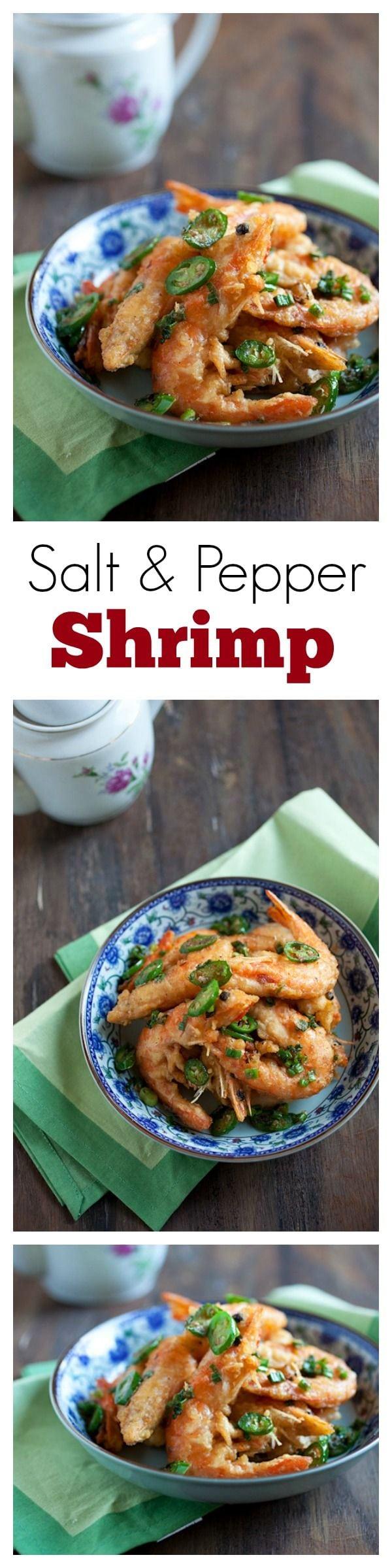Salt & Pepper Shrimp - Chinese restaurant-style salt & pepper shrimp recipe. SO easy, yummy & budget friendly!! | rasamalaysia.com