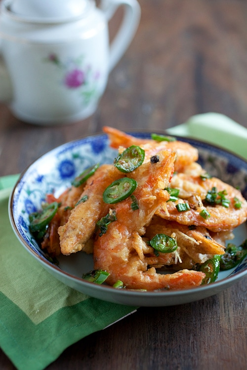 Delicious Asian style crispy stir fry shrimp with salt and pepper ingredients.