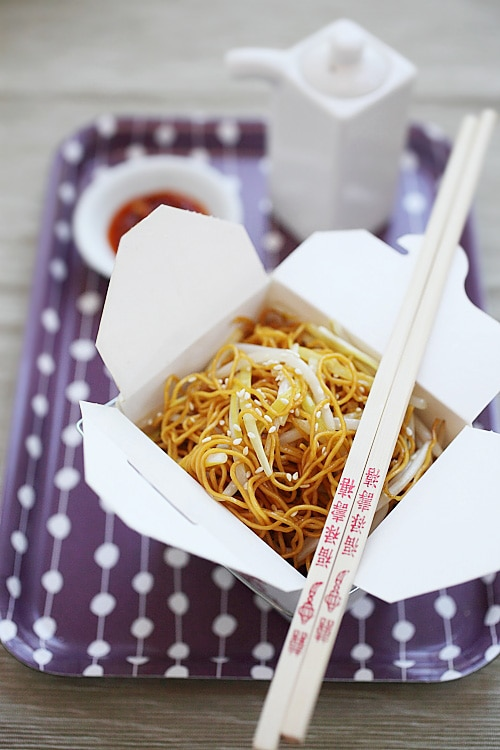 Delicious homemade Chinese chow mein stir fried with soy sauce better than takeout.