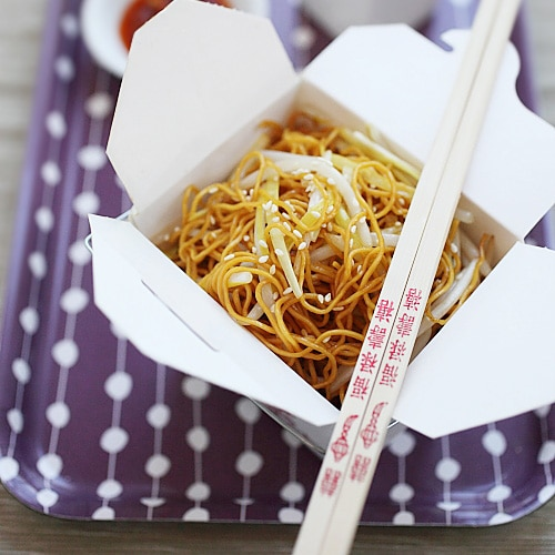 Soy Sauce Chow Mein - the best and easiest homemade soy sauce chow mein just like Chinese restaurants, healthier, less grease and MUCH better than takeout | rasamalaysia.com