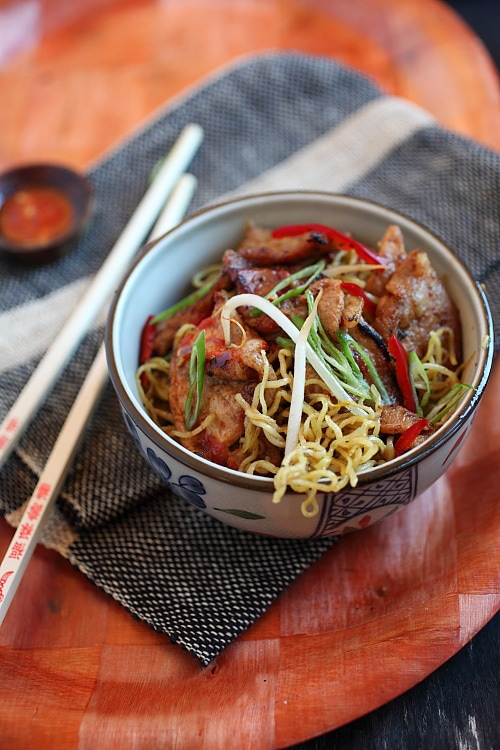 Easy Chinese sweet and sour stir fry pork noodles.