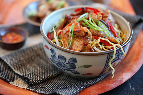 Easy and quick homemade sweet sour pork with noodles, ready to serve.