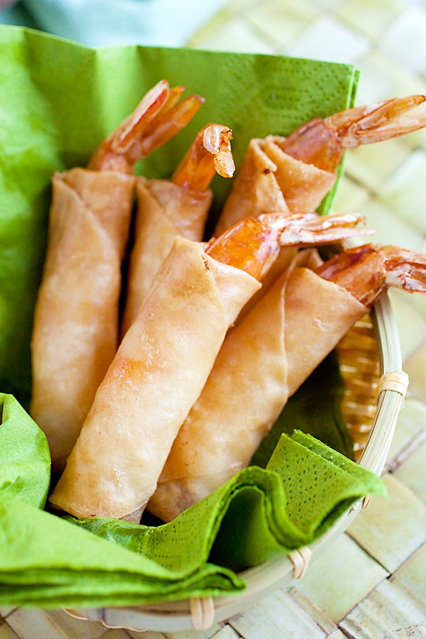 Easy and quick deep fried Asian shrimp spring rolls filled with cheddar cheese.