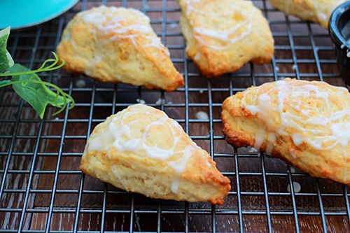 Easy homemade lemon ginger scones ready to serve.