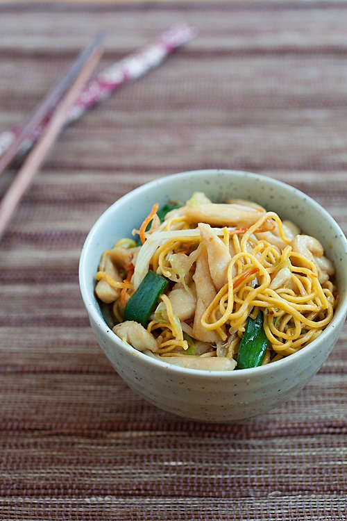 Easy chicken chow mein recipe in a Chinese bowl, ready to be eaten.