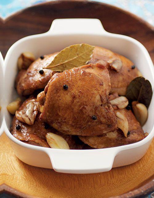 Chicken Adobo is a Filipino recipe made with chicken &adobo spices. Recipe from The Adobo Road Cookbook | rasamalaysia.com