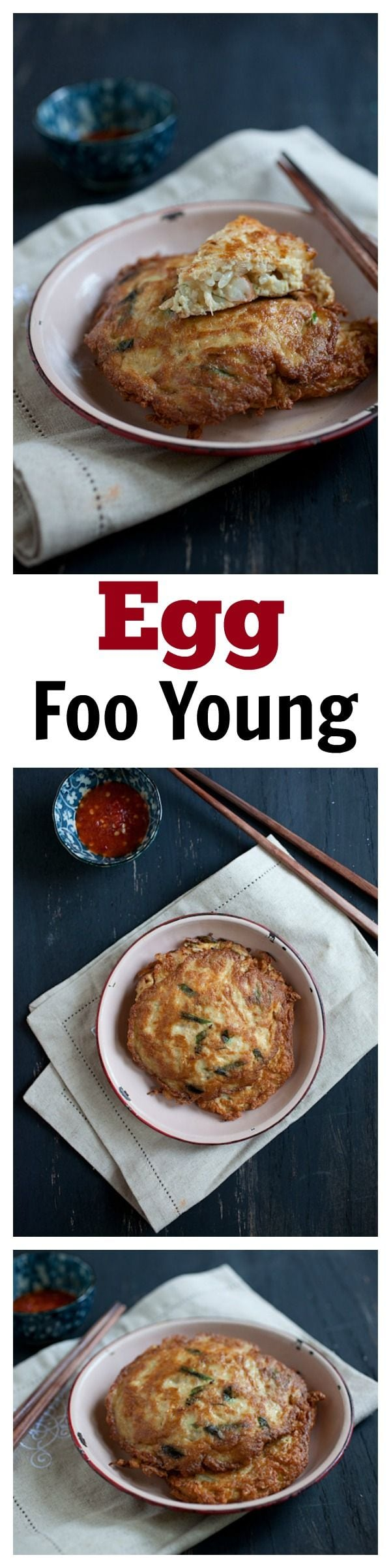 Egg Foo Young - Chinese-style omelet filled with ground pork and various vegetables. This is an authentic egg foo young recipe | rasamalaysia.com