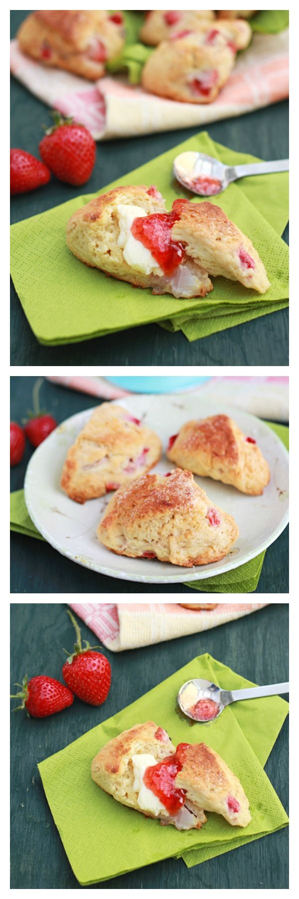 Strawberry scones and strawberry scones recipe. This scone is crumbly, sweet, and tasty with fresh strawberries. Eat alone or with strawberry jam. | rasamalaysia.com