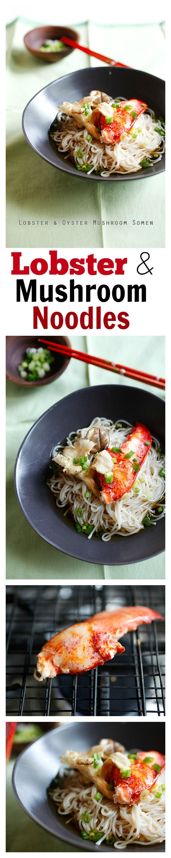 Lobster and Mushroom Noodles - easy & delicious Japanese noodles with mushroom and lobster. SLURP!!! | rasamalaysia.com